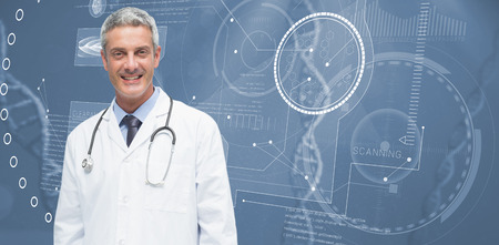 medical man: Male doctor smiling against view of dna