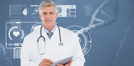 sequences: Doctor looking at camera and holding tablet against image of a dna Stock Photo