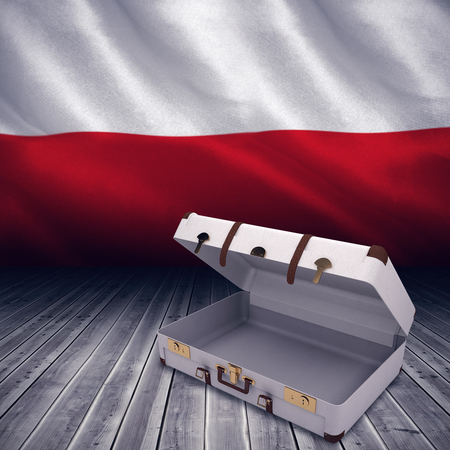 polish flag: Open suitcase against digitally generated polish flag rippling Stock Photo