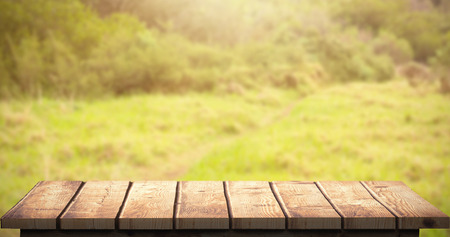 greenness: Wooden floor against image of a greenness hiking path