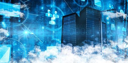 infraestructura: Las nubes contra Vaus iconos iluminados digital de im�genes de iconos iluminados Vaus conectado