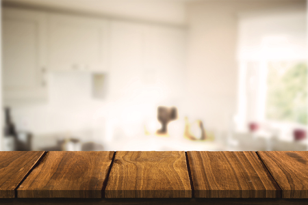 domicile: Wooden table against kitchen interior Stock Photo