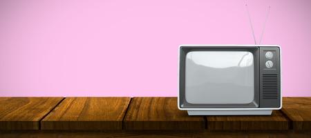 retro tv: Retro tv against pink background