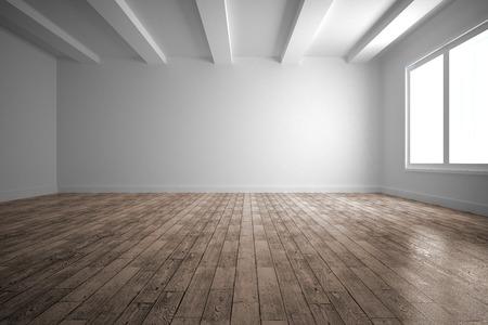 Leerer weißer Raum mit Holzboden