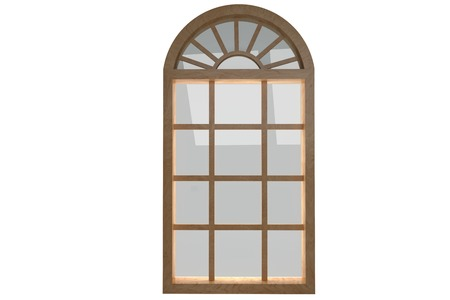 digitally: Digitally generated image of arch window against white background