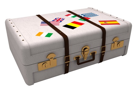 composite image: Composite image of suitcase with flag stickers