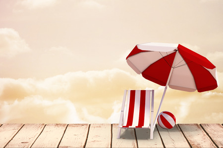 sunshade: Image of sun lounger and sunshade against yellow background