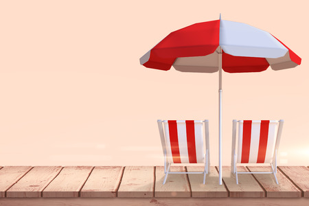 lounger: Image of sun lounger and sunshade against beige background Stock Photo