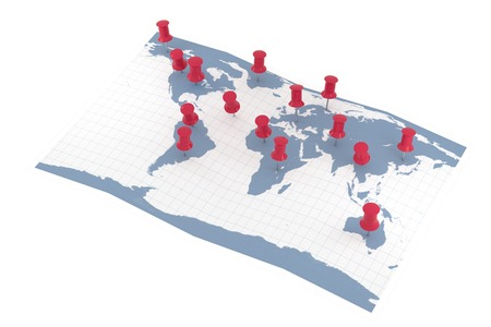 pointers: World Map with pointers Stock Photo