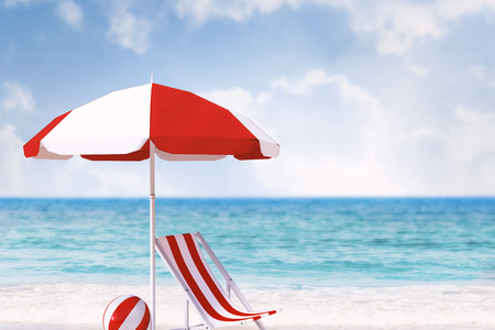 lounger: Image of sun lounger and sunshade against beach scene