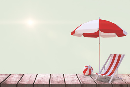 sunshade: Image of sun lounger and sunshade against green background