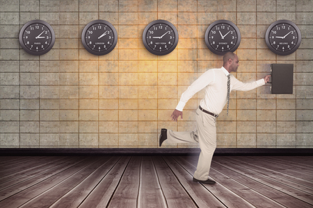 businessman running: Businessman running with briefcase against room background Stock Photo