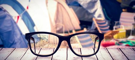campsite: Black glasses against campsite