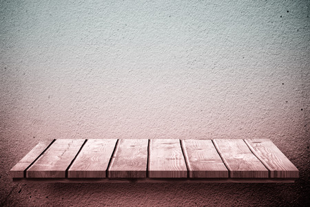 the shelf: Wooden shelf against texture wall Stock Photo