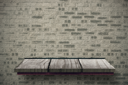 wooden shelf: Wooden shelf against bricks wall Stock Photo