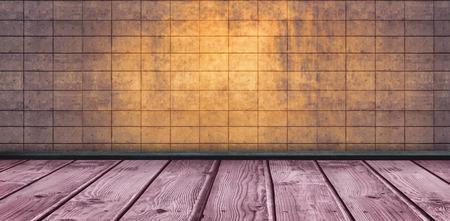 tile background: Wooden floor against tiles wall