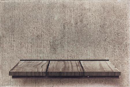 wooden shelf: Wooden shelf against texture wall Stock Photo