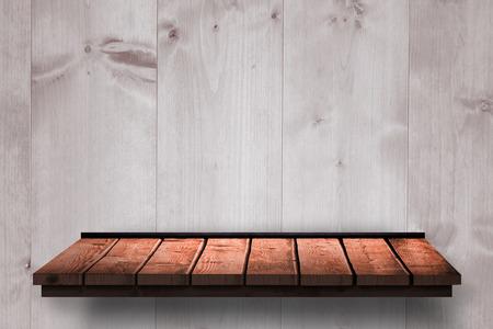 wooden shelf: Wooden shelf against wooden wall