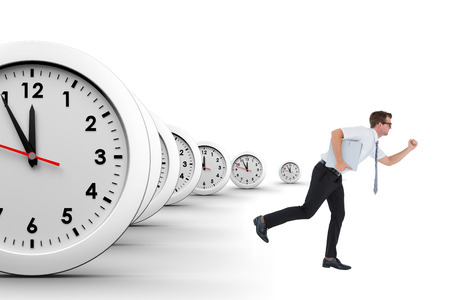 Geeky businessman running late on a white background with clocks