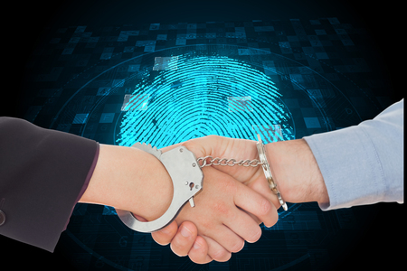 restraining device: Business people in handcuffs shaking hands against digital security finger print scan