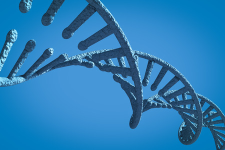 genes: Image of dna helix against blue background