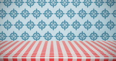 a tablecloth: Red and white tablecloth against blue background Stock Photo