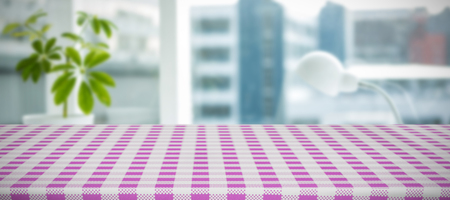 composite image: Composite image of pink and white tablecloth