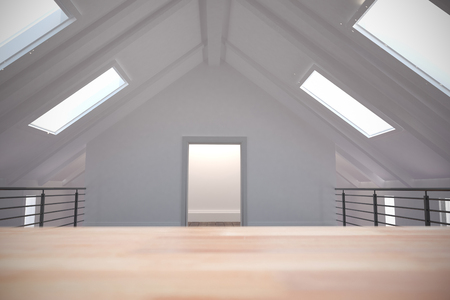 skylights: Wooden table against white room with skylights Stock Photo