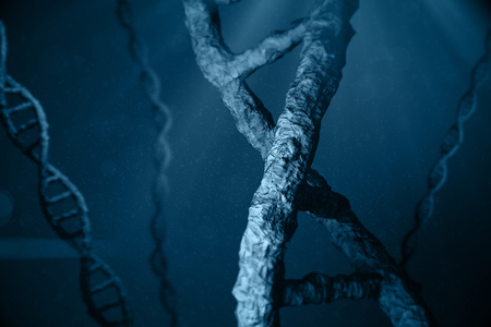 dna sequencing: View of dna against blue background