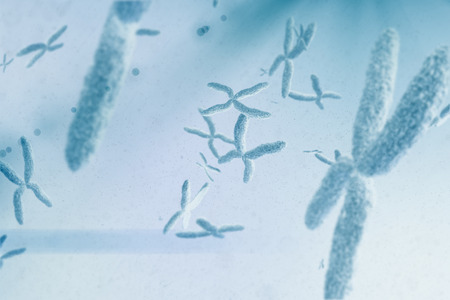 cromosoma: Vista de un cromosoma contra el fondo azul viñeta