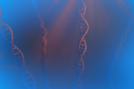 dna sequencing: View of dna against orange vignette