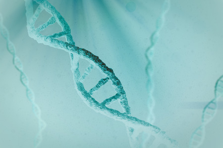 View of dna against blue background
