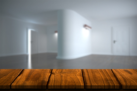 abode: Wooden table against white modern room Stock Photo