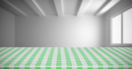 composite image: Composite image of white and green tablecloth