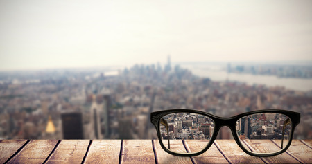 central park: Reading glasses against new york Stock Photo