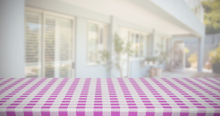abode: Composite image of pink and white tablecloth