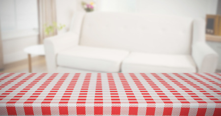 abode: Composite image of red and white tablecloth Stock Photo