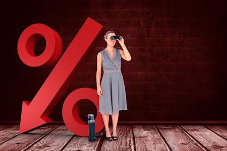 regression: A businesswoman looking through binoculars against a dark wall