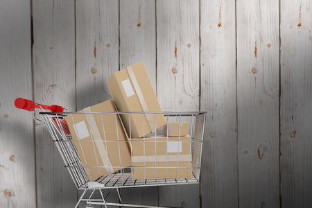 daily life: Online shopping concept against wooden background