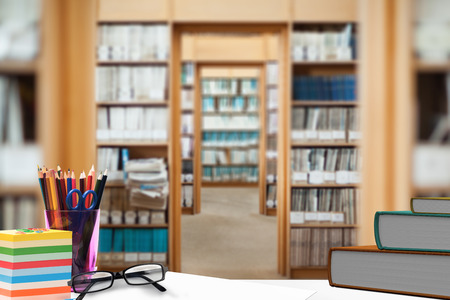 schoolmate: desk against library Stock Photo