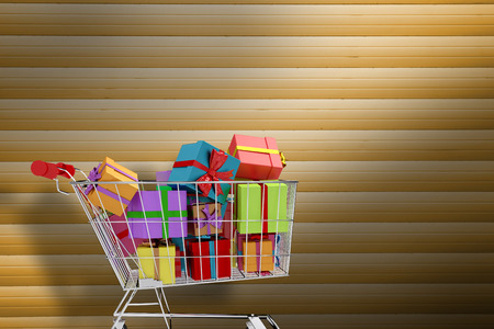 daily life: Trolley full of gifts against grey shutters Stock Photo