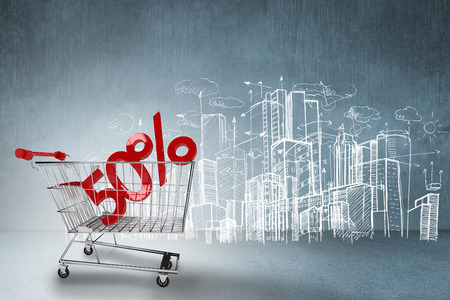 urban planning: Online shopping concept against hand drawn city plan
