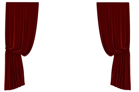 computer graphic: Red curtain with white background