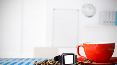 swivel chairs: A swatch with a white background against coffee beans and cup