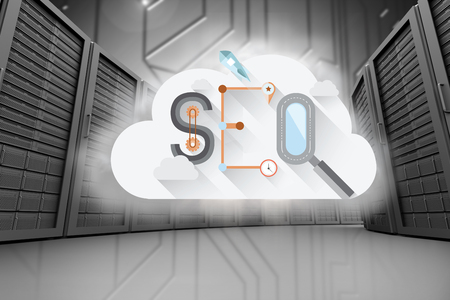 where: seo against a large room where are standing the servers