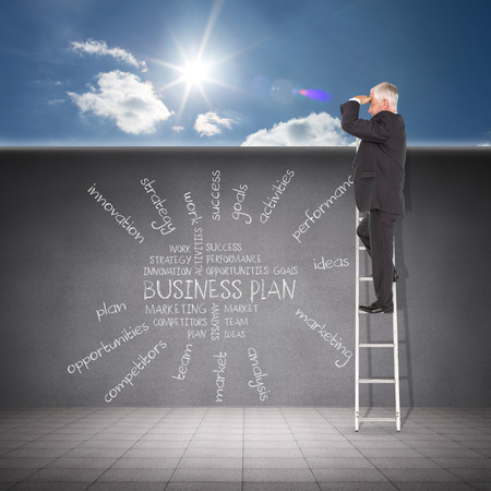 buzz word: Businessman looking on a ladder against cloudy sky with sunshine Stock Photo