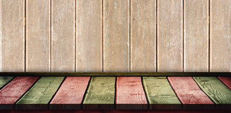 parquet: Red and khaki parquet against wooden planks Stock Photo