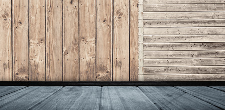parquet: White wall with parquet against wooden planks Stock Photo