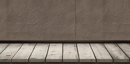 grey: Grey parquet against grey concrete tile Stock Photo