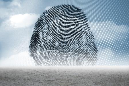 odcisk kciuka: Cyfrowo generowane graficzny Thumbprint na pustyni